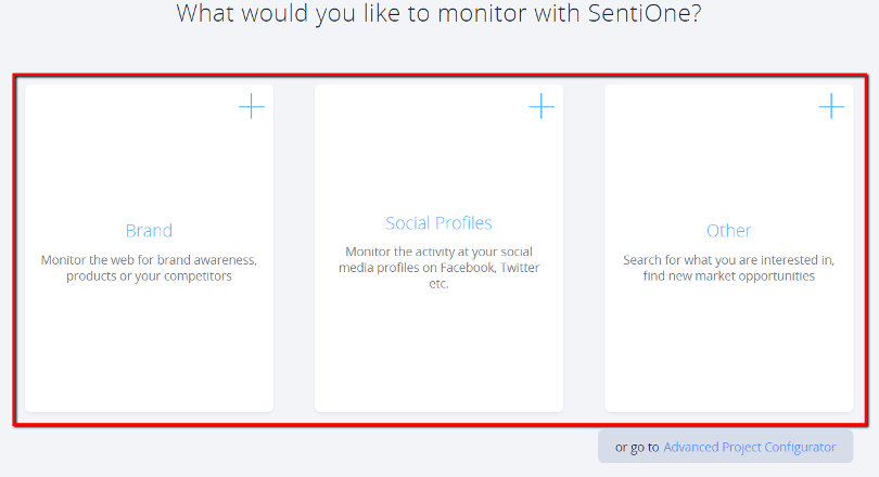 """SentiOne Surveillance Services """"width ="""" 810 """"height ="""" 440 """"/> </p> <p> You can also create a project from scratch using the Advanced Project Configurator – giving you complete control over all the rules and features of keywords. </p> <p> <img class="""