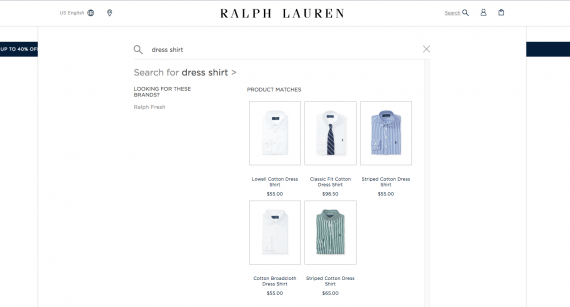 "The Ralph Lauren website uses a full-screen search mode on mobile devices and covers most content on larger screens. ""Width ="" 570 ""height ="" 307 ""/>   <p class="