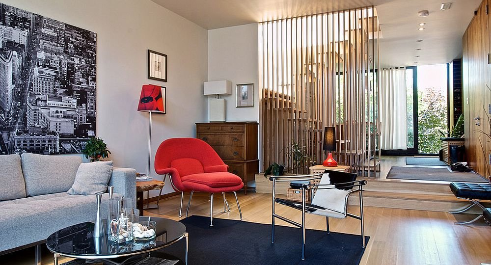 Room-divider-for-the-modern-living-space-crafted-from-wooden-slats-is-a-popular-choice